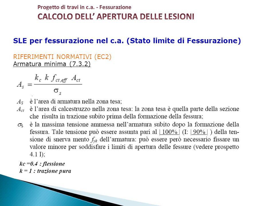 SLE per fessurazione nel c.a. (Stato limite di Fessurazione) RIFERIMENTI NORMATIVI (EC2) Armatura minima (7.3.2) kc =0.4 : flessione k = 1 : trazione