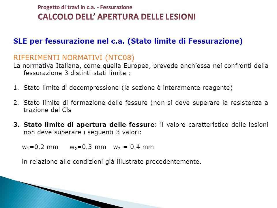SLE per fessurazione nel c.a. (Stato limite di Fessurazione) RIFERIMENTI NORMATIVI (NTC08) La normativa Italiana, come quella Europea, prevede anch'es
