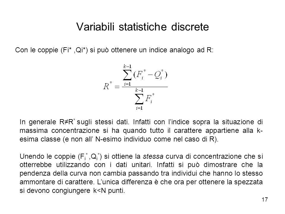 17 Variabili statistiche discrete Con le coppie (Fi*,Qi*) si può ottenere un indice analogo ad R: In generale R≠R * sugli stessi dati. Infatti con l'i