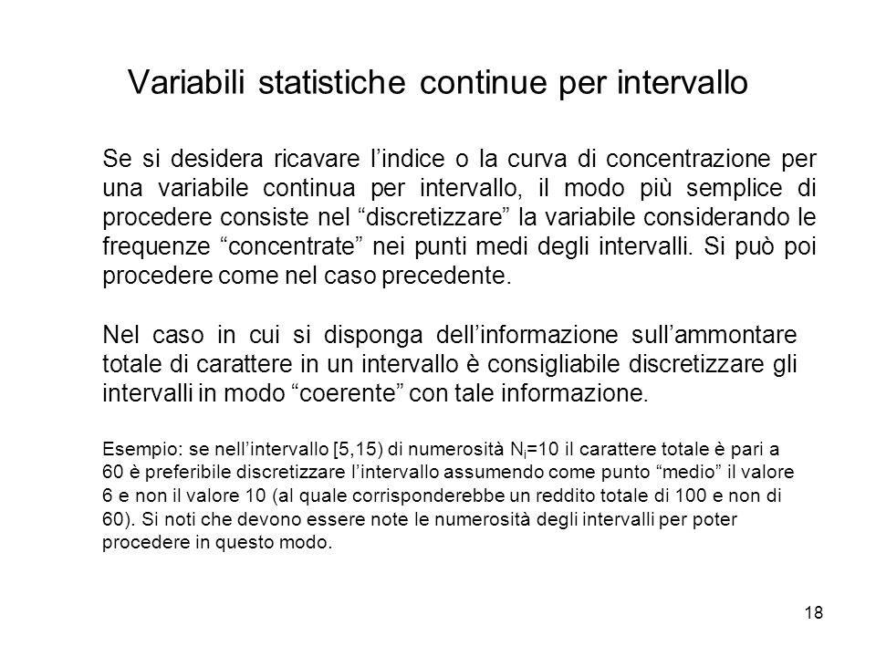 18 Nel caso in cui si disponga dell'informazione sull'ammontare totale di carattere in un intervallo è consigliabile discretizzare gli intervalli in m