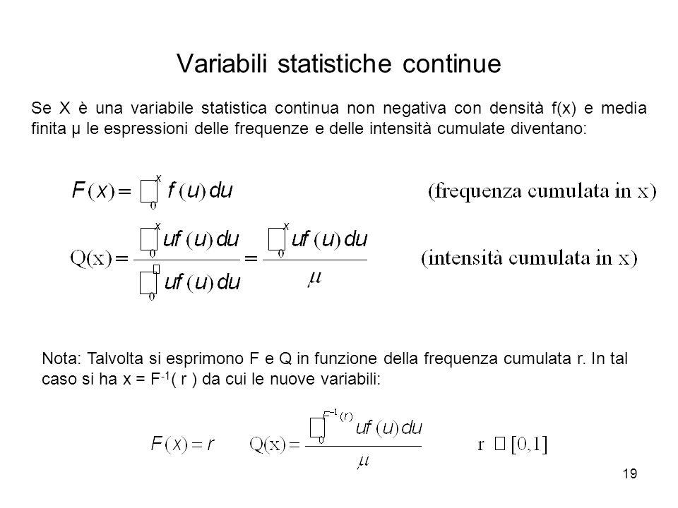 19 Se X è una variabile statistica continua non negativa con densità f(x) e media finita μ le espressioni delle frequenze e delle intensità cumulate d