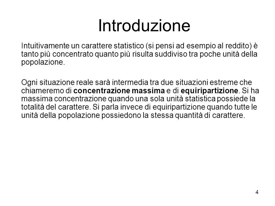4 Introduzione Intuitivamente un carattere statistico (si pensi ad esempio al reddito) è tanto più concentrato quanto più risulta suddiviso tra poche