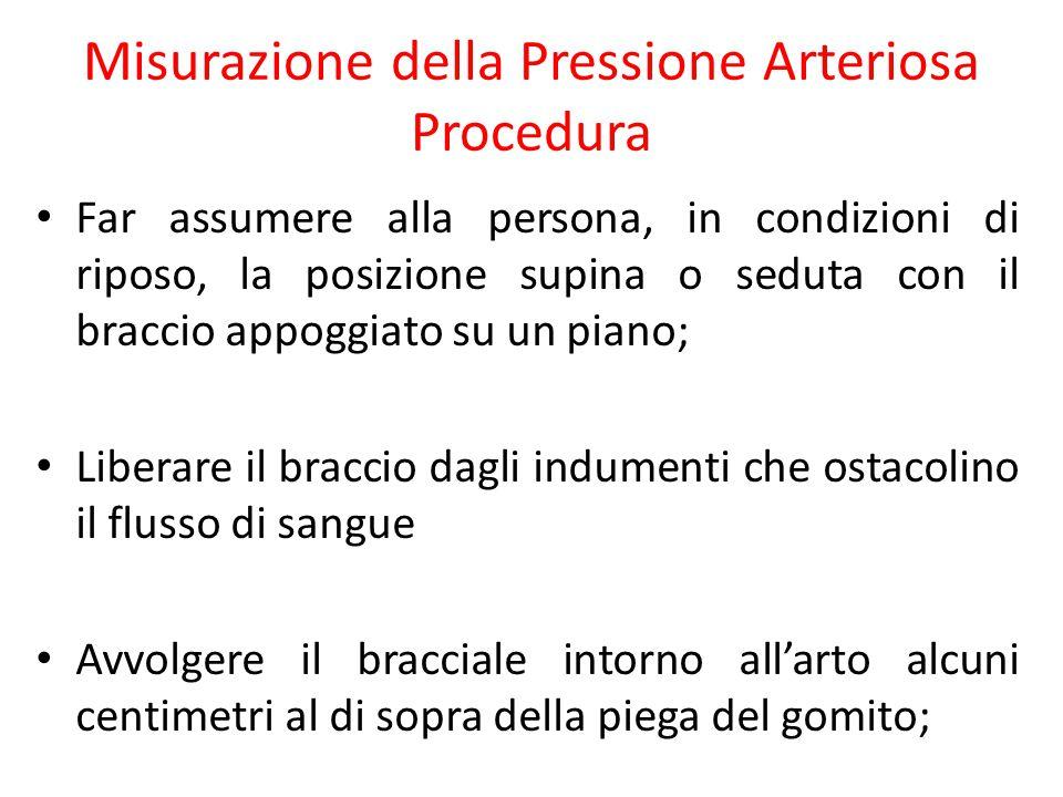 Misurazione della Pressione Arteriosa Procedura Far assumere alla persona, in condizioni di riposo, la posizione supina o seduta con il braccio appogg