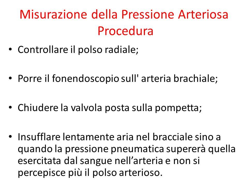 Misurazione della Pressione Arteriosa Procedura Controllare il polso radiale; Porre il fonendoscopio sull' arteria brachiale; Chiudere la valvola post
