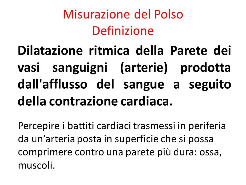 Misurazione del Polso Definizione Dilatazione ritmica della Parete dei vasi sanguigni (arterie) prodotta dall'afflusso del sangue a seguito della cont