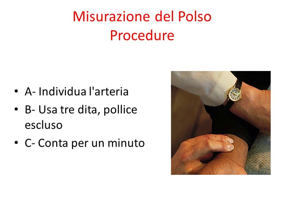 Misurazione del Polso Procedure A- Individua l'arteria B- Usa tre dita, pollice escluso C- Conta per un minuto