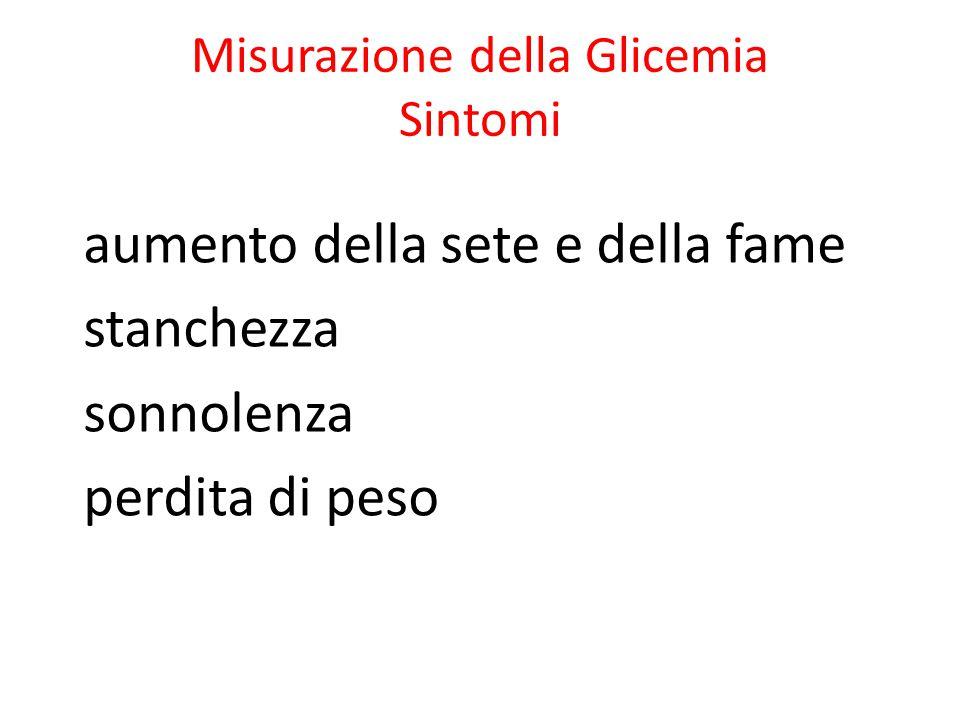 Misurazione della Glicemia Sintomi aumento della sete e della fame stanchezza sonnolenza perdita di peso
