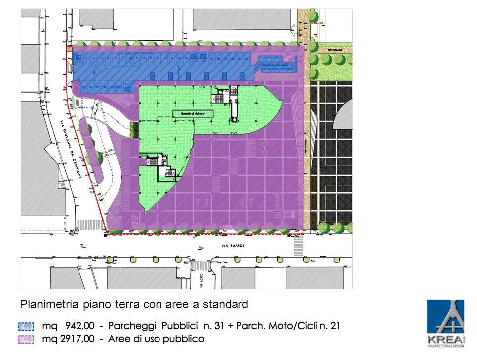 Planimetria piano terra con aree a standard