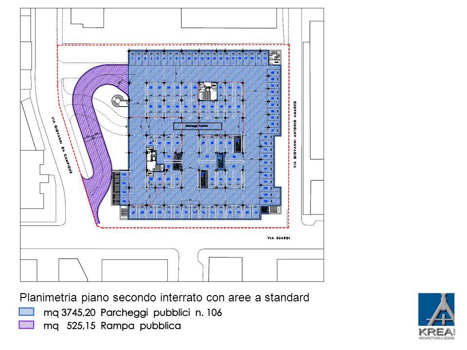Planimetria piano secondo interrato con aree a standard