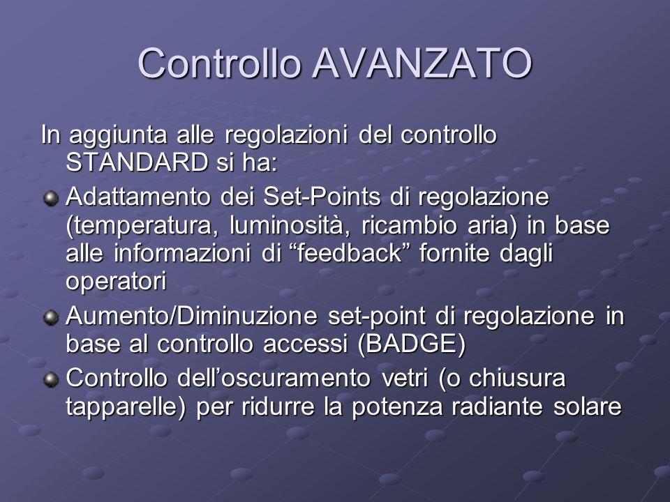 Controllo AVANZATO In aggiunta alle regolazioni del controllo STANDARD si ha: Adattamento dei Set-Points di regolazione (temperatura, luminosità, rica