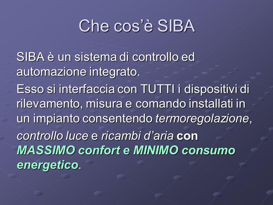 Che cos'è SIBA SIBA è un sistema di controllo ed automazione integrato. Esso si interfaccia con TUTTI i dispositivi di rilevamento, misura e comando i
