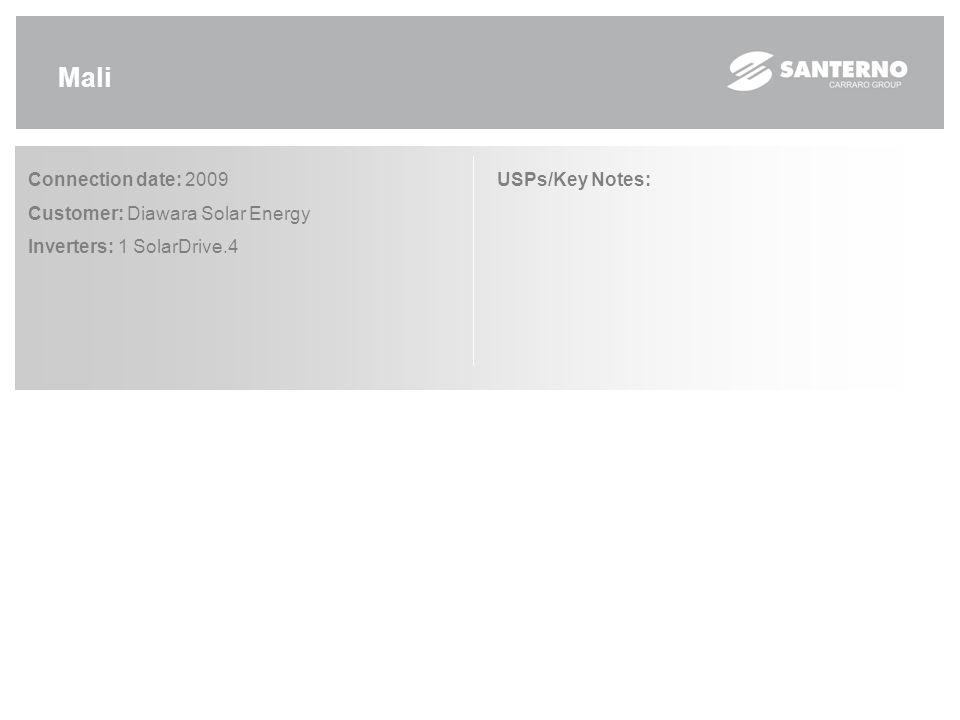 Mali Connection date: 2009 Customer: Diawara Solar Energy Inverters: 1 SolarDrive.4 USPs/Key Notes: