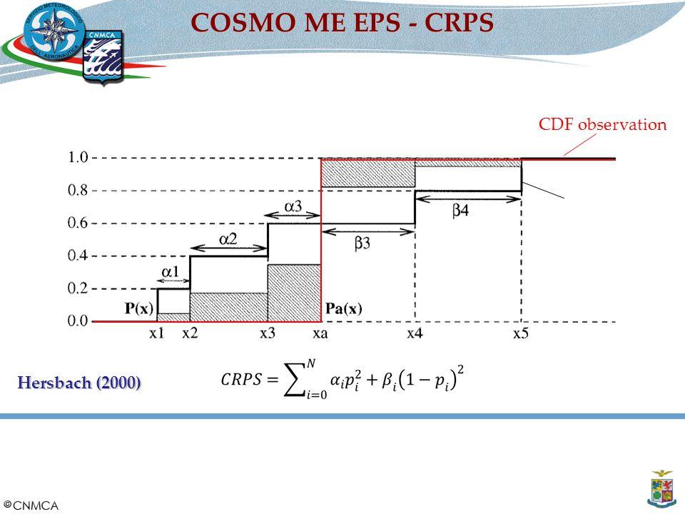 Slide 6 di 30 COSMO ME EPS - CRPS CDF ensemble CDF observation CNMCA 5 settembre 2014 Hersbach (2000)
