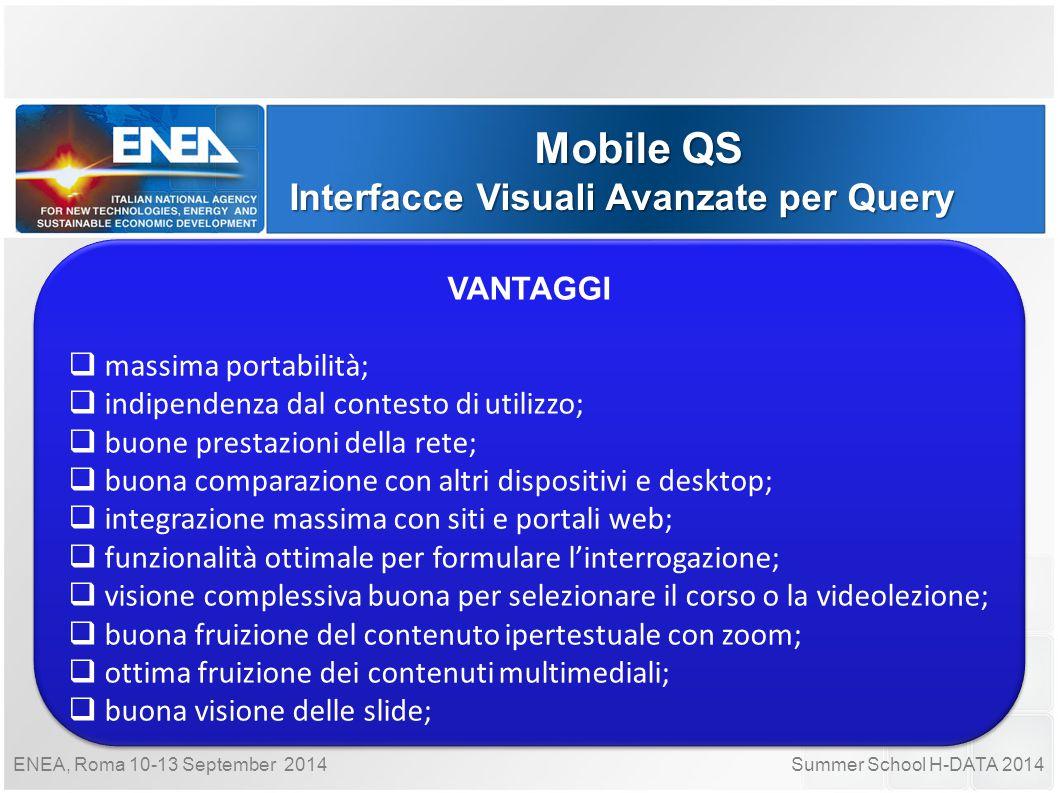 Summer School H-DATA 2014ENEA, Roma 10-13 September 2014 Mobile QS Interfacce Visuali Avanzate per Query VANTAGGI  massima portabilità;  indipendenz