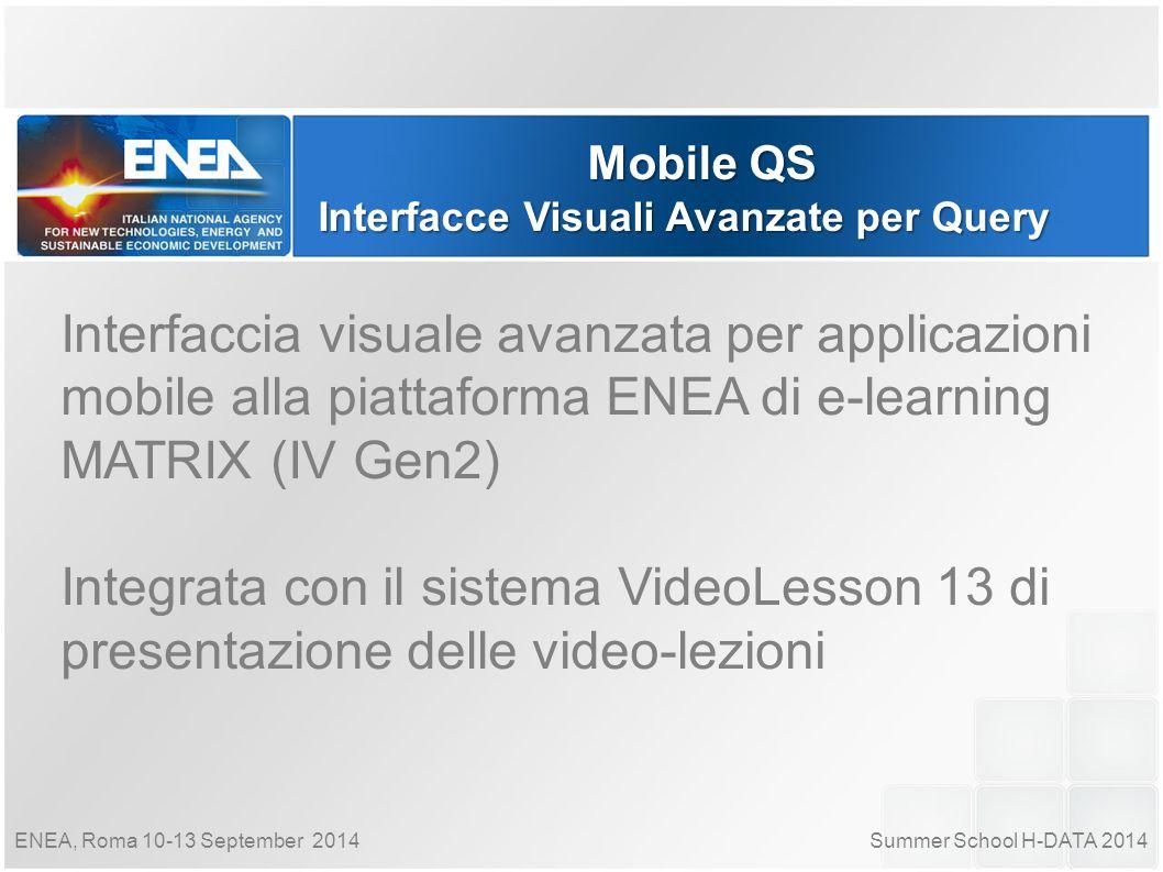 Summer School H-DATA 2014ENEA, Roma 10-13 September 2014 Mobile QS Interfacce Visuali Avanzate per Query Interfaccia visuale avanzata per applicazioni