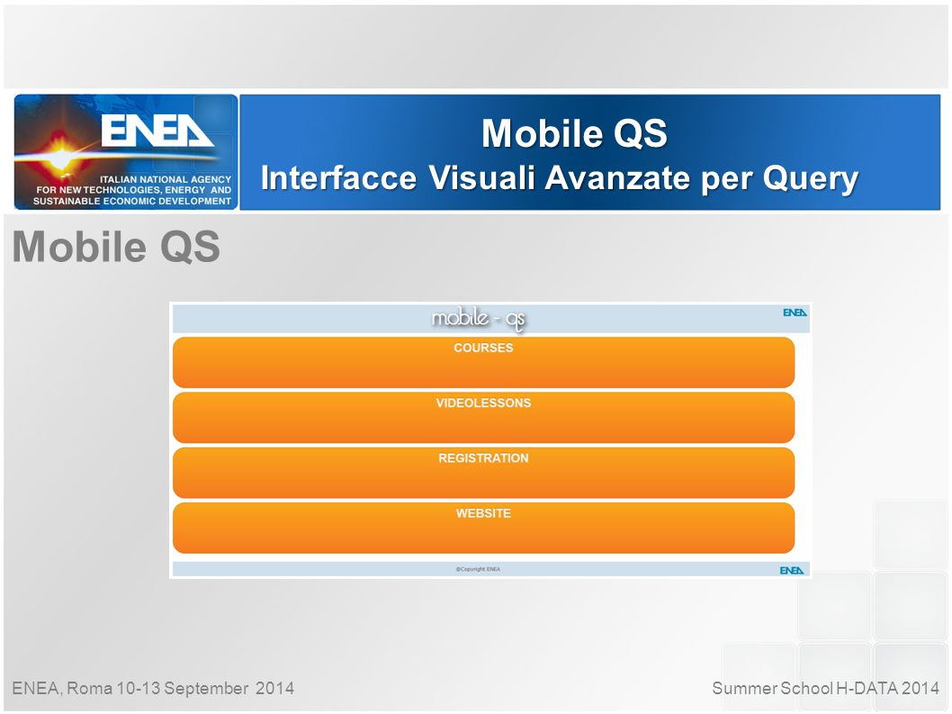 Summer School H-DATA 2014ENEA, Roma 10-13 September 2014 Mobile QS Interfacce Visuali Avanzate per Query Mobile QS
