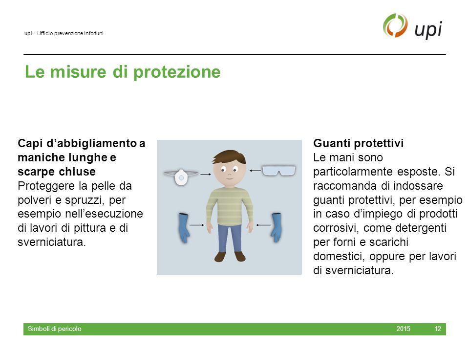 upi – Ufficio prevenzione infortuni Le misure di protezione 2015 Simboli di pericolo 12 Guanti protettivi Le mani sono particolarmente esposte. Si rac