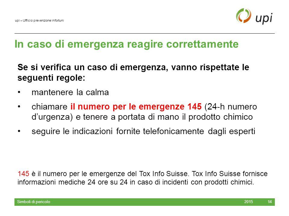 upi – Ufficio prevenzione infortuni In caso di emergenza reagire correttamente 2015 Simboli di pericolo 14 Se si verifica un caso di emergenza, vanno