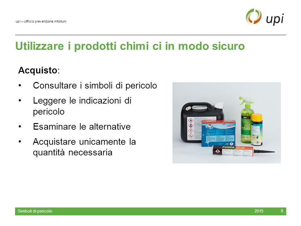 upi – Ufficio prevenzione infortuni Utilizzare i prodotti chimi ci in modo sicuro 2015 Simboli di pericolo 9 Acquisto: Consultare i simboli di pericol