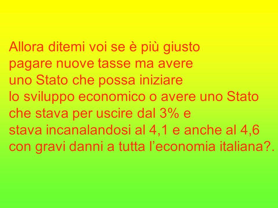 Allora ditemi voi se è più giusto pagare nuove tasse ma avere uno Stato che possa iniziare lo sviluppo economico o avere uno Stato che stava per uscire dal 3% e stava incanalandosi al 4,1 e anche al 4,6 con gravi danni a tutta l'economia italiana .