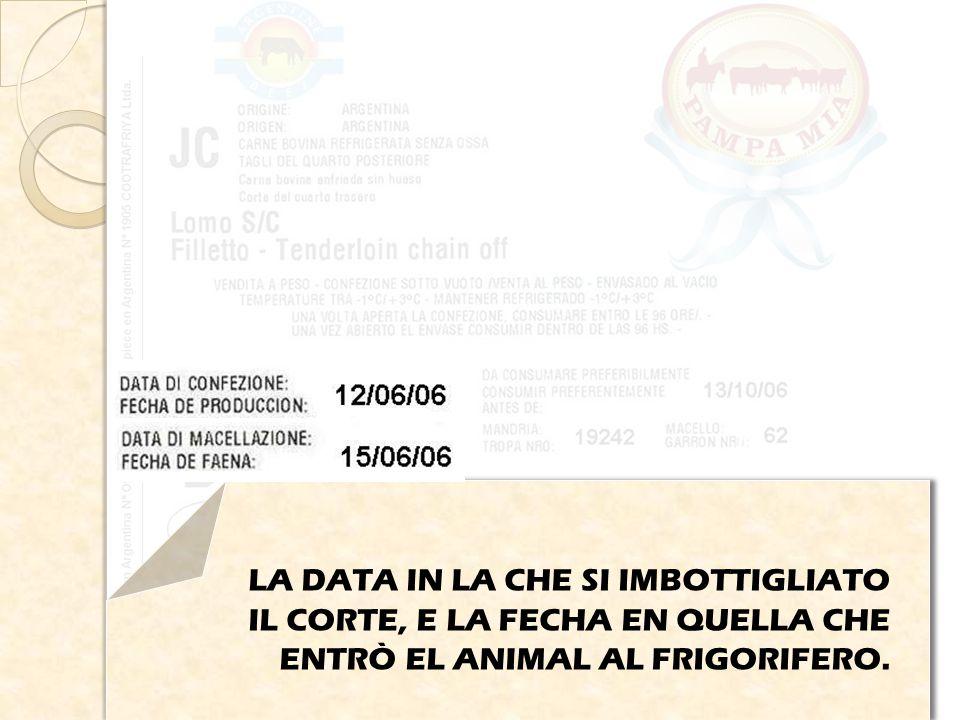LA DATA IN LA CHE SI IMBOTTIGLIATO IL CORTE, E LA FECHA EN QUELLA CHE ENTRÒ EL ANIMAL AL FRIGORIFERO.