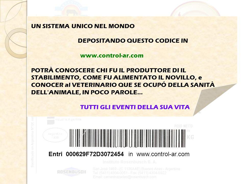 Entri 000629F72D3072454 in www.control-ar.com UN SISTEMA UNICO NEL MONDO DEPOSITANDO QUESTO CODICE IN www.control-ar.com POTRÀ CONOSCERE CHI FU IL PRODUTTORE DI IL STABILIMENTO, COME FU ALIMENTATO IL NOVILLO, e CONOCER al VETERINARIO QUE SE OCUPÓ DELLA SANITÀ DELL ANIMALE, IN POCO PAROLE… TUTTI GLI EVENTI DELLA SUA VITA