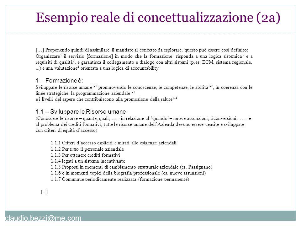 claudio.bezzi@me.com Esempio reale di concettualizzazione (2a) […] Proponendo quindi di assimilare il mandato al concetto da esplorare, questo può ess