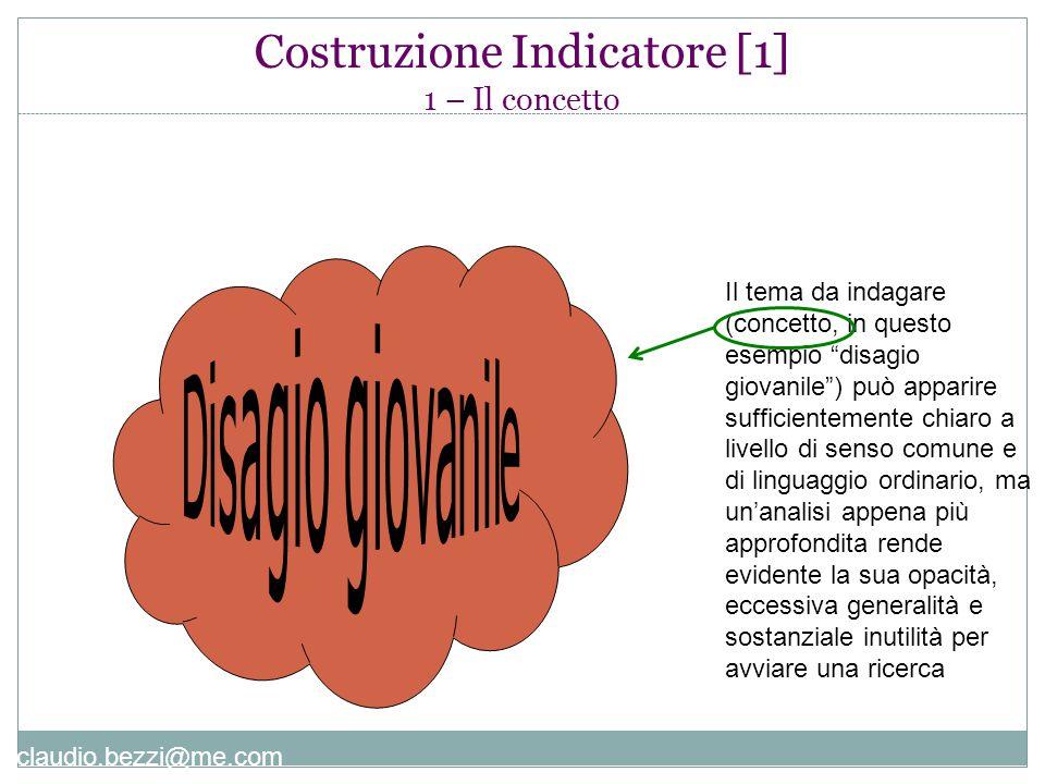 """claudio.bezzi@me.com Costruzione Indicatore [1] 1 – Il concetto Il tema da indagare (concetto, in questo esempio """"disagio giovanile"""") può apparire suf"""