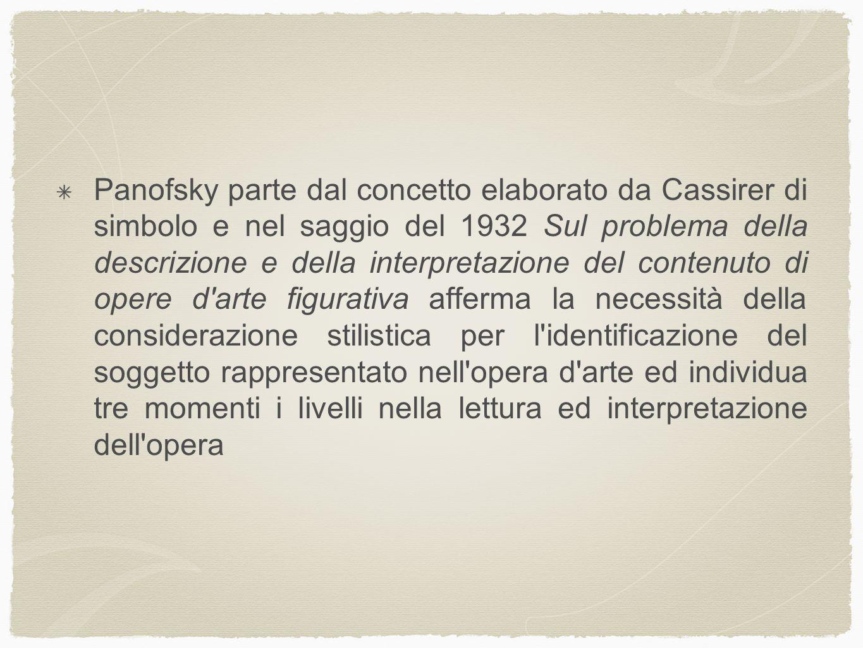 Panofsky parte dal concetto elaborato da Cassirer di simbolo e nel saggio del 1932 Sul problema della descrizione e della interpretazione del contenut