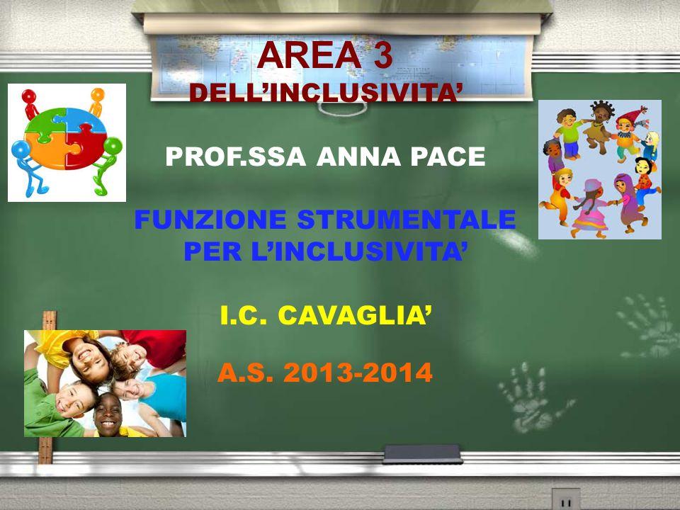 AREA 3 DELL'INCLUSIVITA' PROF.SSA ANNA PACE FUNZIONE STRUMENTALE PER L'INCLUSIVITA' I.C. CAVAGLIA' A.S. 2013-2014