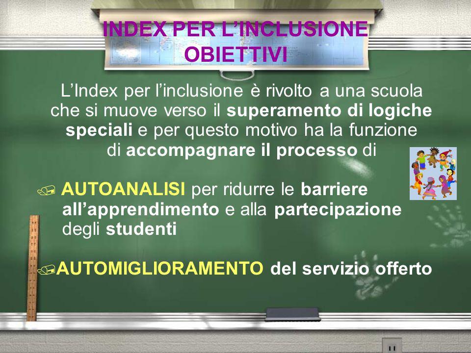 INDEX PER L'INCLUSIONE OBIETTIVI L'Index per l'inclusione è rivolto a una scuola che si muove verso il superamento di logiche speciali e per questo mo