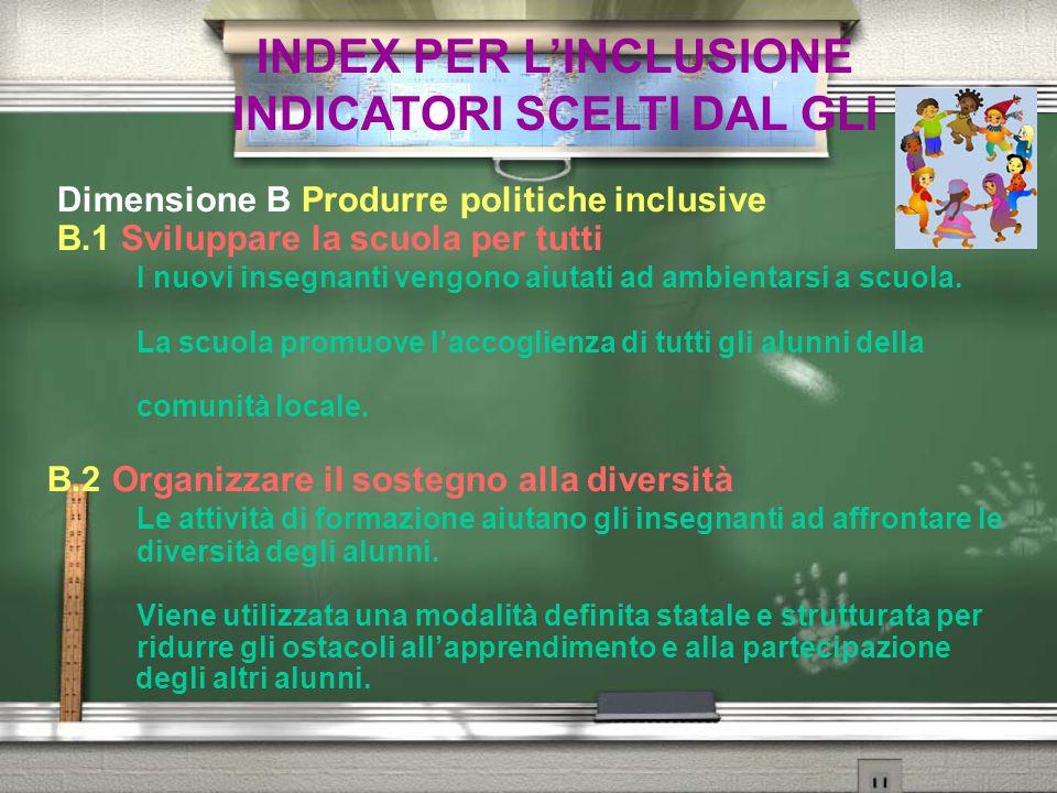 INDEX PER L'INCLUSIONE INDICATORI SCELTI DAL GLI Dimensione B Produrre politiche inclusive B.1 Sviluppare la scuola per tutti I nuovi insegnanti vengo