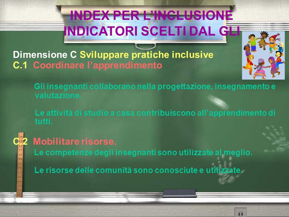 INDEX PER L'INCLUSIONE INDICATORI SCELTI DAL GLI Dimensione C Sviluppare pratiche inclusive C.1 Coordinare l'apprendimento Gli insegnanti collaborano