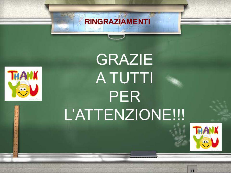 RINGRAZIAMENTI GRAZIE A TUTTI PER L'ATTENZIONE!!!