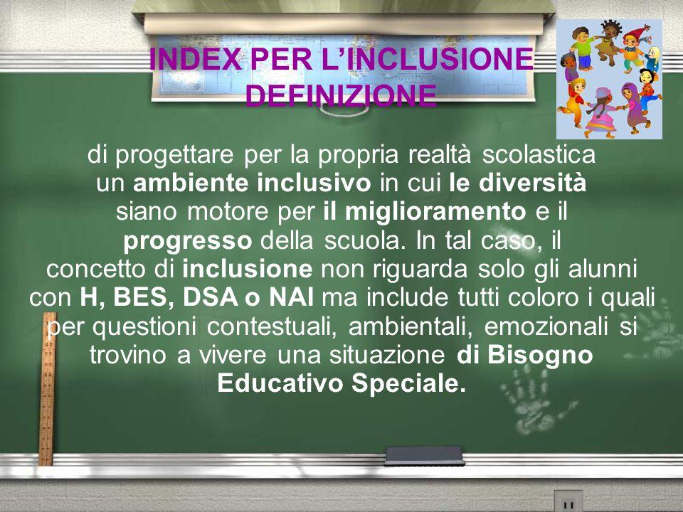 INDEX PER L'INCLUSIONE OBIETTIVI L'Index per l'inclusione è rivolto a una scuola che si muove verso il superamento di logiche speciali e per questo motivo ha la funzione di accompagnare il processo di  AUTOANALISI per ridurre le barriere all'apprendimento e alla partecipazione degli studenti  AUTOMIGLIORAMENTO del servizio offerto