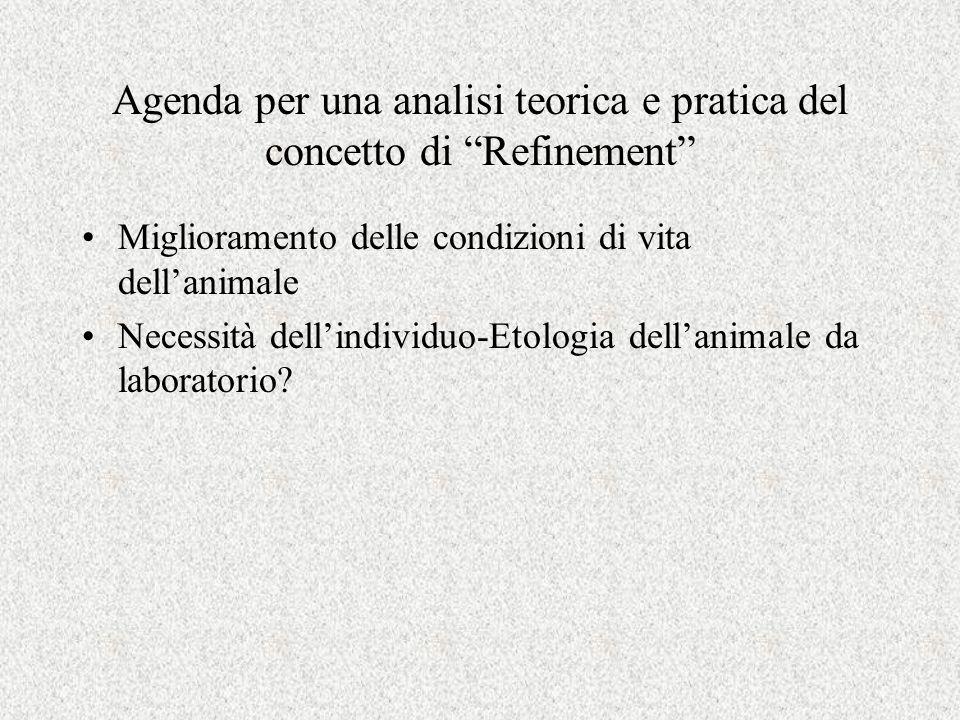 Agenda per una analisi teorica e pratica del concetto di Refinement Miglioramento delle condizioni di vita dell'animale Necessità dell'individuo-Etologia dell'animale da laboratorio