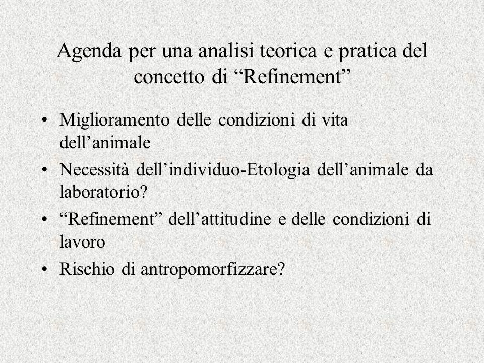 Agenda per una analisi teorica e pratica del concetto di Refinement Miglioramento delle condizioni di vita dell'animale Necessità dell'individuo-Etologia dell'animale da laboratorio.