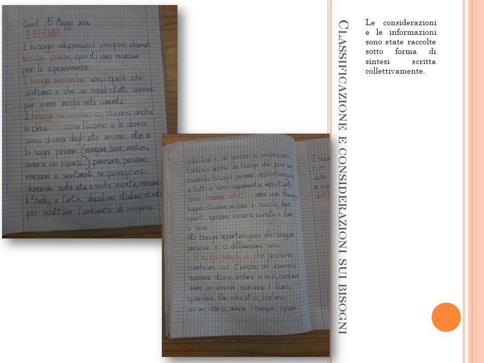 C LASSIFICAZIONE E CONSIDERAZIONI SUI BISOGNI Le considerazioni e le informazioni sono state raccolte sotto forma di sintesi scritta collettivamente.