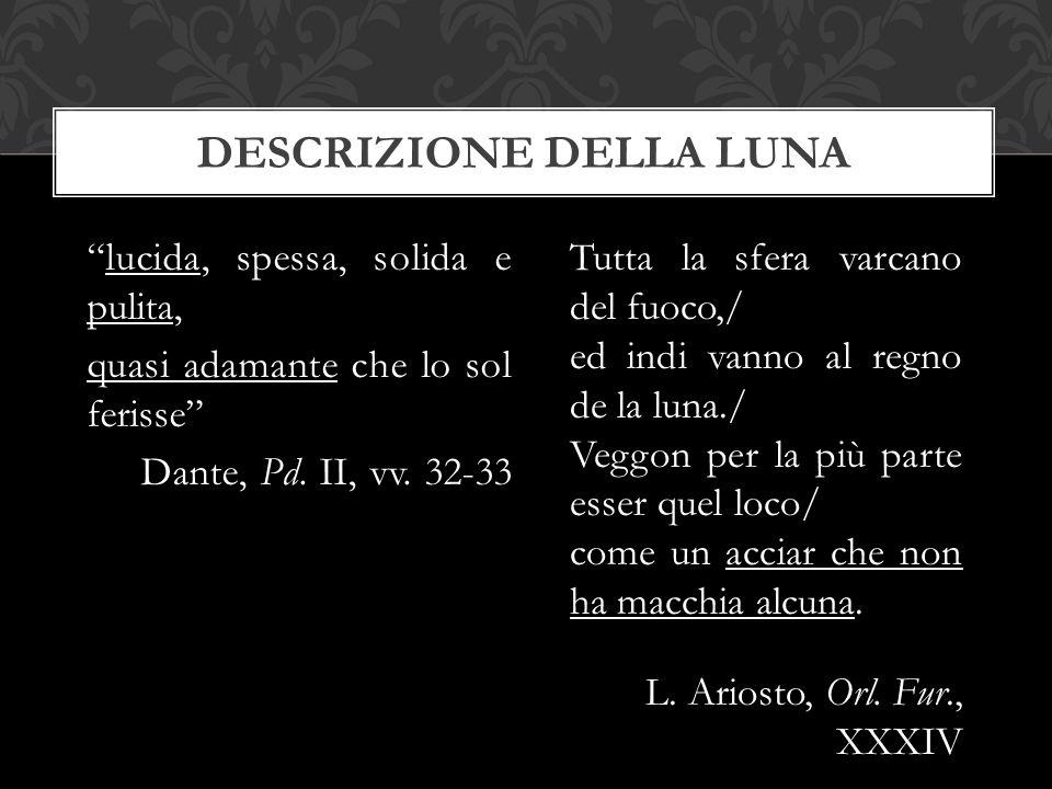 """""""lucida, spessa, solida e pulita, quasi adamante che lo sol ferisse"""" Dante, Pd. II, vv. 32-33 DESCRIZIONE DELLA LUNA Tutta la sfera varcano del fuoco,"""