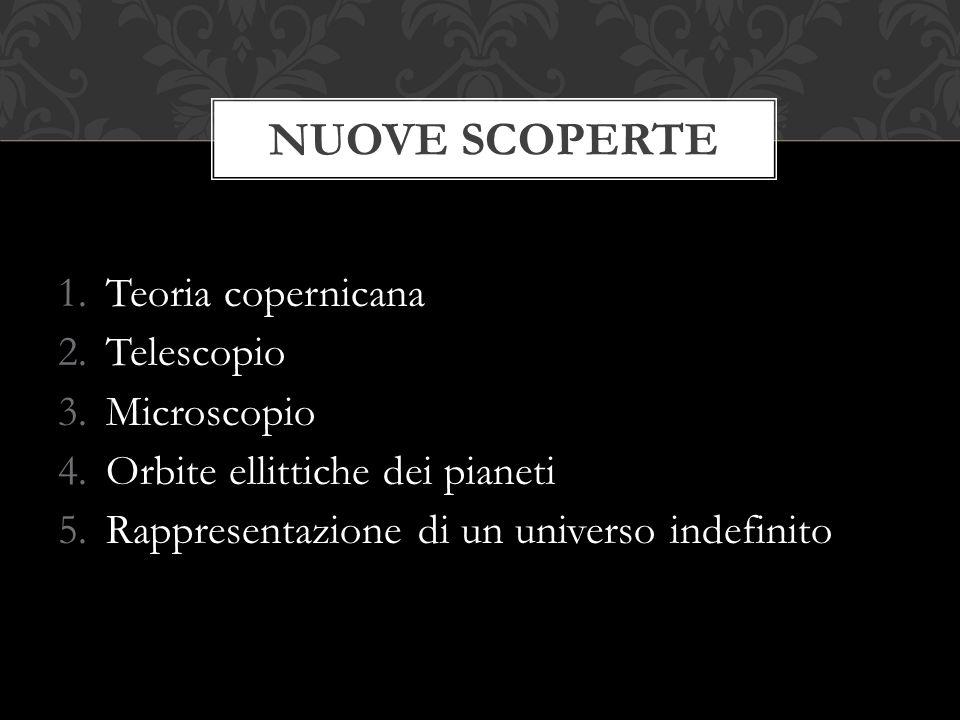 1.Teoria copernicana 2.Telescopio 3.Microscopio 4.Orbite ellittiche dei pianeti 5.Rappresentazione di un universo indefinito NUOVE SCOPERTE