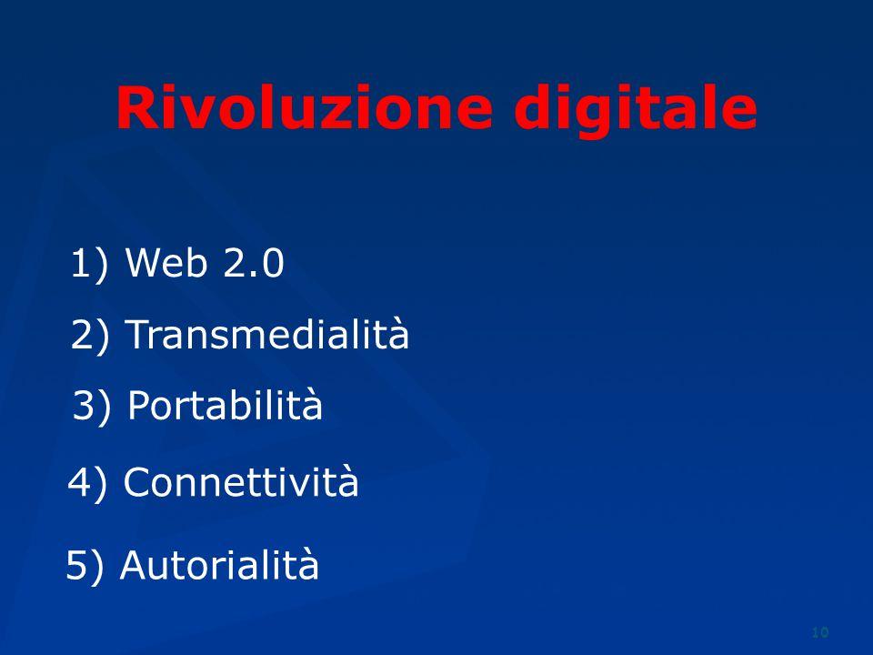 10 3) Portabilità 5) Autorialità 2) Transmedialità 4) Connettività 1) Web 2.0 Rivoluzione digitale