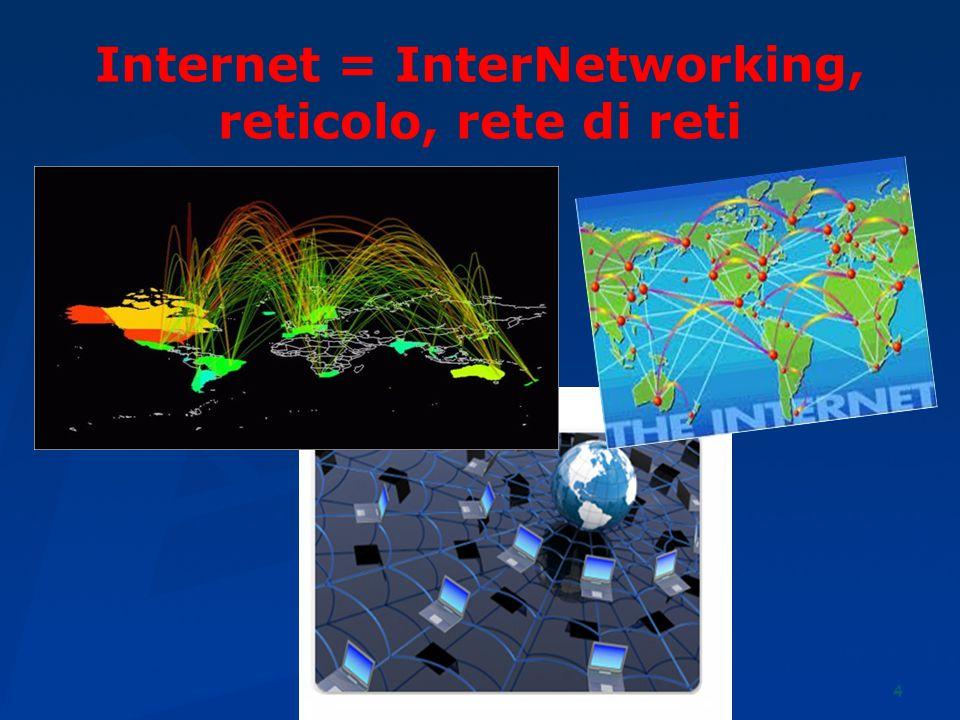 4 Internet = InterNetworking, reticolo, rete di reti