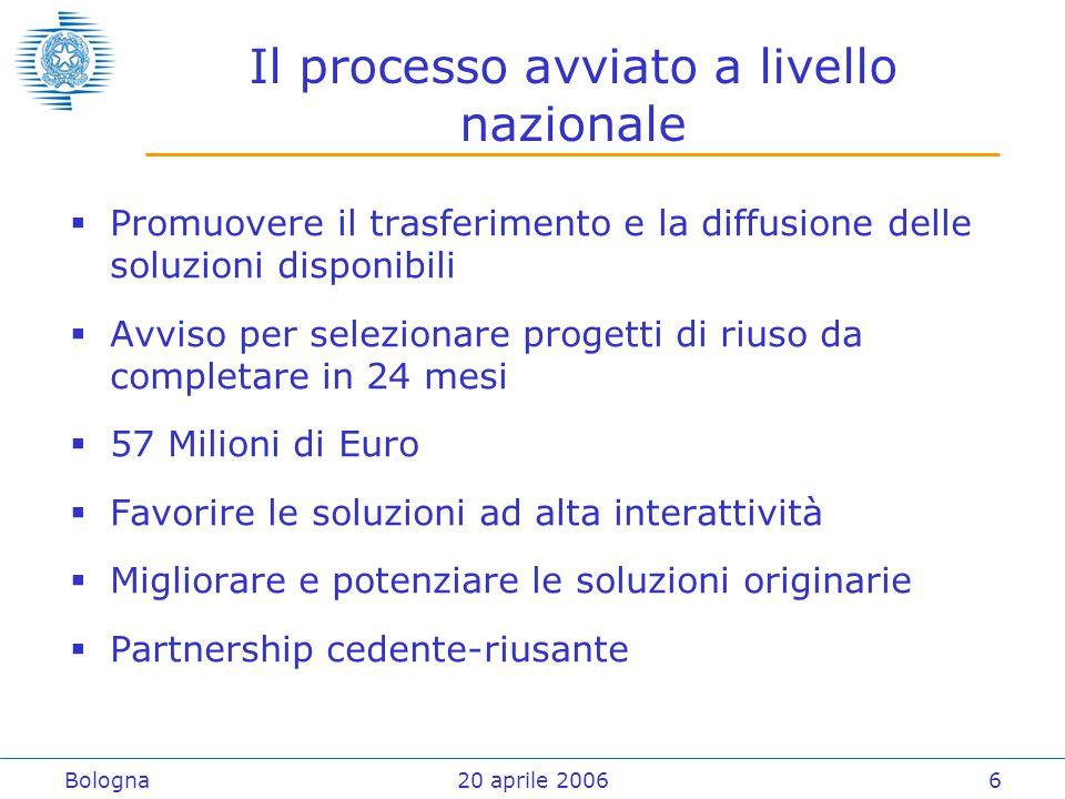 Bologna20 aprile 20066 Il processo avviato a livello nazionale  Promuovere il trasferimento e la diffusione delle soluzioni disponibili  Avviso per selezionare progetti di riuso da completare in 24 mesi  57 Milioni di Euro  Favorire le soluzioni ad alta interattività  Migliorare e potenziare le soluzioni originarie  Partnership cedente-riusante