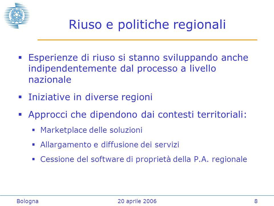 Bologna20 aprile 20069 Opportunità per il futuro  Ottenere dalle esperienze in corso modelli di trasferimento  Continuare la collaborazione con i fornitori di soluzioni ICT  Collaborazione tra gli enti, rapporto fiduciario (community), e trasferimento di progettualità  Evoluzione delle esperienze in corso verso meccanismi stabili di sostegno al riuso