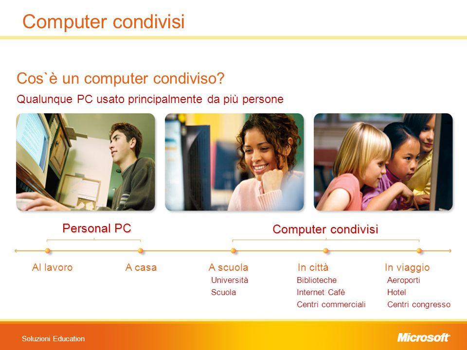 Soluzioni Education Cos`è un computer condiviso? Qualunque PC usato principalmente da più persone Personal PC Computer condivisi Al lavoroA casa A scu