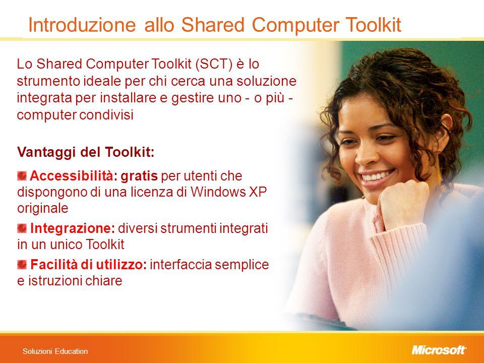 Soluzioni Education Lo Shared Computer Toolkit (SCT) è lo strumento ideale per chi cerca una soluzione integrata per installare e gestire uno - o più