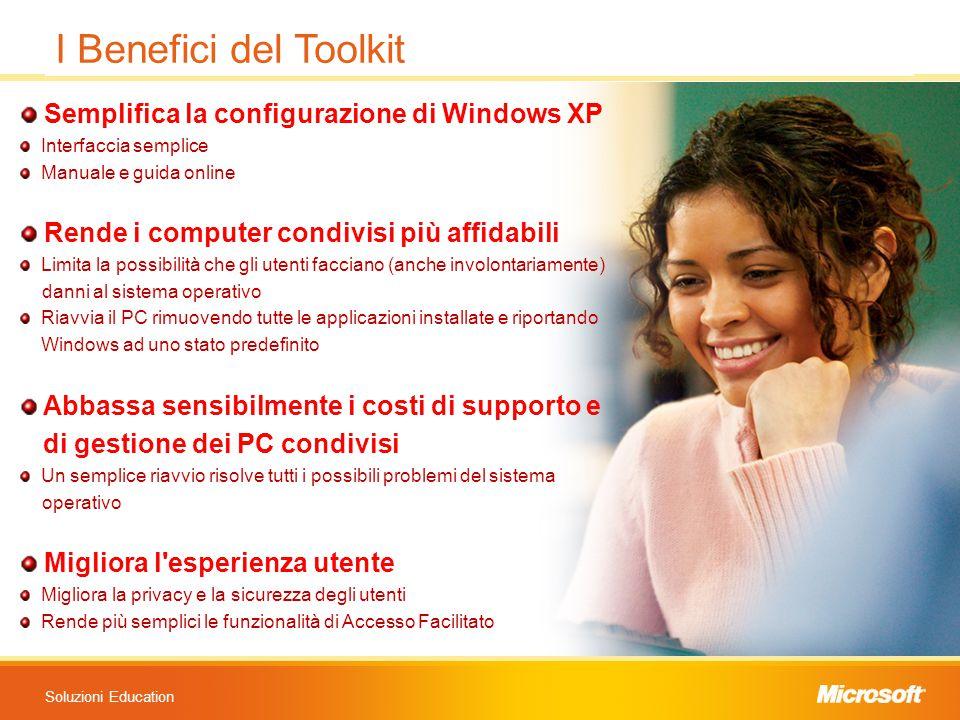 Soluzioni Education Semplifica la configurazione di Windows XP Interfaccia semplice Manuale e guida online Rende i computer condivisi più affidabili L