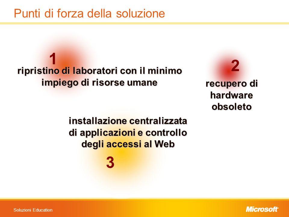 Soluzioni Education Punti di forza della soluzione 1 ripristino di laboratori con il minimo impiego di risorse umane 2 recupero di hardwareobsoleto 3