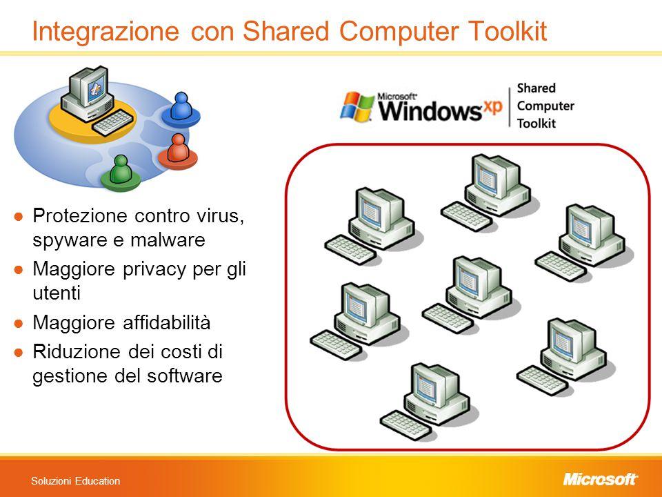Soluzioni Education Integrazione con Shared Computer Toolkit ●Protezione contro virus, spyware e malware ●Maggiore privacy per gli utenti ●Maggiore af