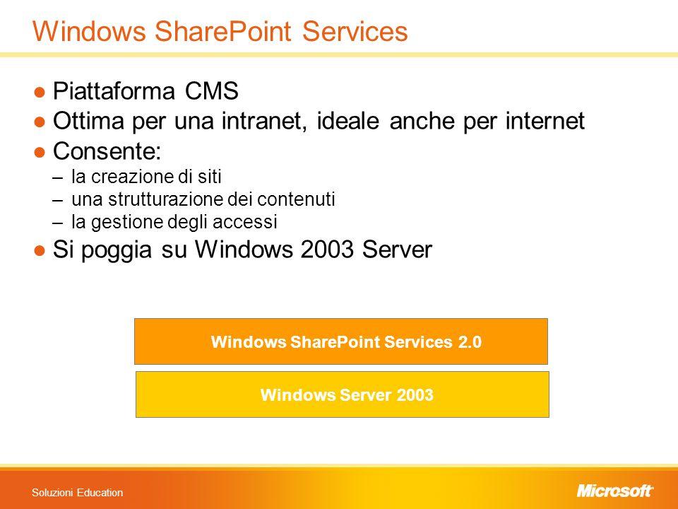 Soluzioni Education Windows SharePoint Services ●Piattaforma CMS ●Ottima per una intranet, ideale anche per internet ●Consente: –la creazione di siti –una strutturazione dei contenuti –la gestione degli accessi ●Si poggia su Windows 2003 Server Windows Server 2003 Windows SharePoint Services 2.0
